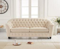 Carrie Beige Linen 3 Seater Sofa