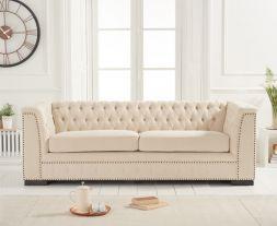 Pauletta Beige Linen 3 Seater Sofa