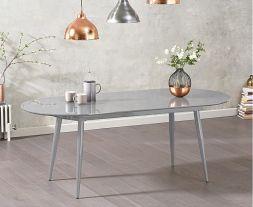Opel Extending Light Grey High Gloss Dining Table