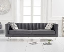 Danielle Grey Velvet 3 Seater Sofa