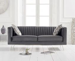 Danielle Grey Velvet 2 Seater Sofa