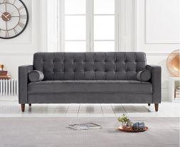 Riviera Grey Velvet 3 Seater Sofa