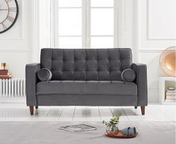Riviera Grey Velvet 2 Seater Sofa