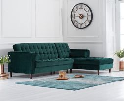 Anneliese Green Velvet Right Facing Chaise Sofa