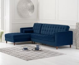 Anneliese Blue Velvet Left Facing Chaise Sofa