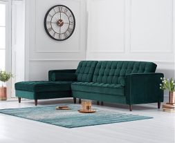 Anneliese Green Velvet Left Facing Chaise Sofa