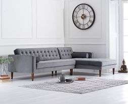 Idriana Grey Velvet Right Facing Chaise Sofa