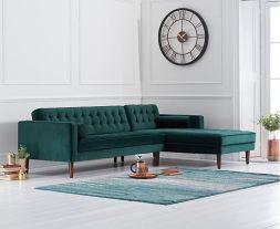 Idriana Green Velvet Right Facing Chaise Sofa