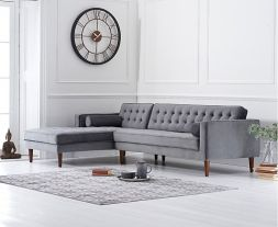 Idriana Grey Velvet Left Facing Chaise Sofa