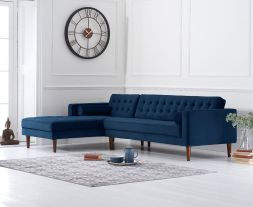 Idriana Blue Velvet Left Facing Chaise Sofa