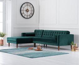 Idriana Green Velvet Left Facing Chaise Sofa