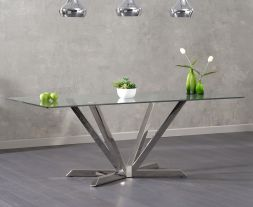 Rene 200cm Rectangular Glass Dining Table