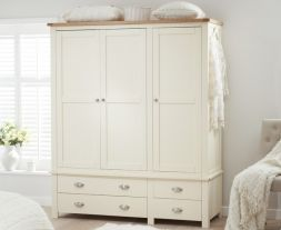 Sandringham Oak And Cream Triple Wardrobe