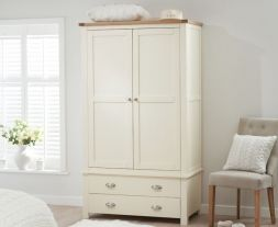 Sandringham Oak And Cream Gents 2 Drawer Wardrobe