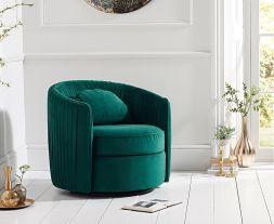 Sarana Green Velvet Swivel Chair