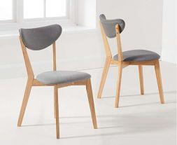 Seth Grey/Oak Cushion Back Chair (Pairs)