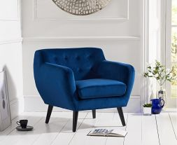 Tina Blue Velvet Accent Chair