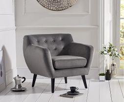 Tina Grey Velvet Accent Chair