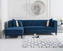 Tino Blue Velvet Left Facing Chaise Sofa