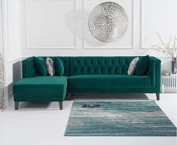 Tino Green Velvet Left Facing Chaise Sofa