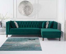 Tino Green Velvet Right Facing Chaise Sofa