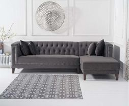 Tino Grey Velvet Right Facing Chaise Sofa