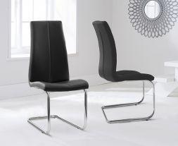 Tonia Hooped Leg Pu Black Dining Chairs (Pair)