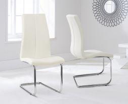 Tonia Hooped Leg Pu Cream Dining Chairs (Pair)