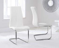 Tonia Hooped Leg Pu White Dining Chairs (Pair)