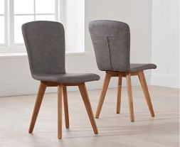 Tribeca Grey Faux Leather Chairs (Pairs)