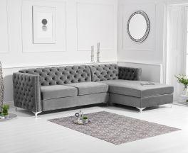 Maxim Right Facing Grey Velvet Chaise Sofa
