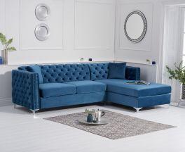 Maxim Right Facing Blue Velvet Chaise Sofa