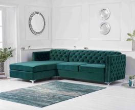 Maxim Left Facing Green Velvet Chaise Sofa