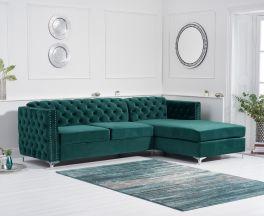 Maxim Right Facing Green Velvet Chaise Sofa