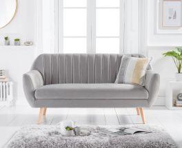 Luxor Grey Velvet 3 Seater Sofa