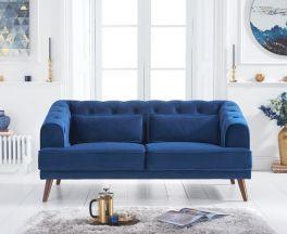 Destiny Blue Velvet 2 Seater Sofa