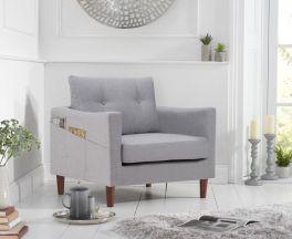 Carrie Grey Linen Armchair