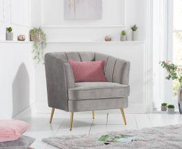 Lucena Grey Velvet Armchair