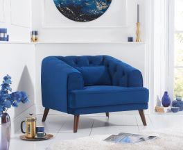 Destiny Blue Velvet Armchair
