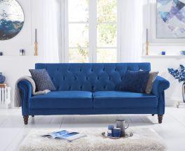 Ora Blue Velvet Sofa Bed