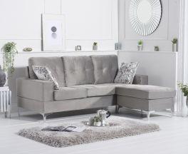 Waso Grey Velvet Reversible Chaise Sofa