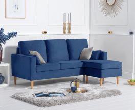 Whisper Blue Velvet Reversible Chaise Sofa