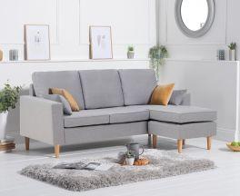 Whisper Grey Linen Reversible Chaise Sofa