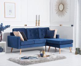 Wester Blue Velvet Reversible Chaise Sofa