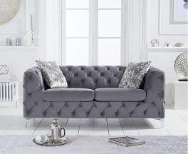 Alegra Grey Velvet 2 Seater Sofa