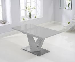 Haven 160cm Extending Light Grey High Gloss Dining Table