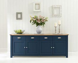 Sandringham 4 Door 4 Drawer Oak & Blue Sideboard