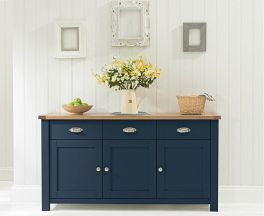 Sandringham 3 Door 3 Drawer Oak & Blue Sideboard