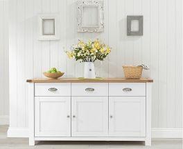 Sandringham 3 Door 3 Drawer Oak & White Sideboard