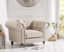 Camara Chesterfield Beige Linen Armchair
